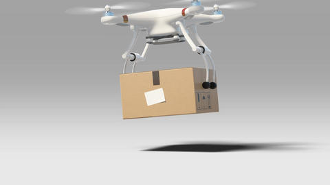 Drone Taking off with a Package from the Ground and Flying Away. 3d Animation Animation