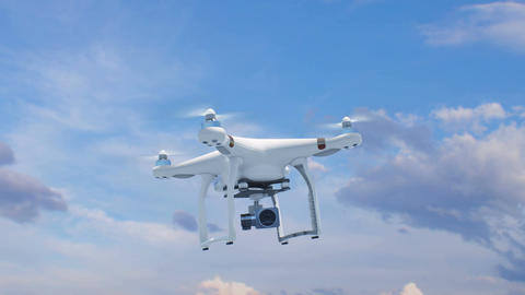 Quadcopter Flying in the Blue Sky with its Camera and Rising Fast Up to the Sun Animation