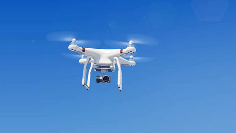 Quadcopter Flying in the Blue Sky and Filming all Around with its Camera. Modern Animation