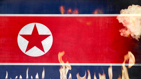 North Korea Flag in Fire Footage