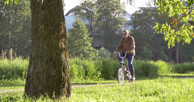 Man rides a bicycle Footage