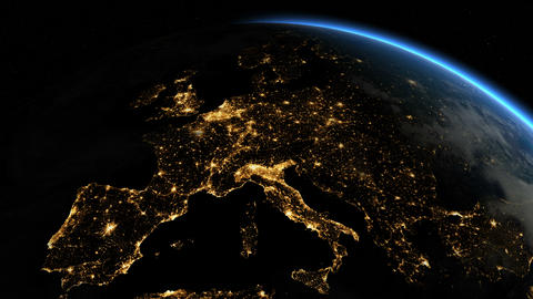 Europe from space. Sunrise. Earth From Space Animation