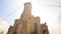 Age-old Catholic Church Decorated with Garlands in Vietnam Footage