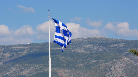 One single greek flag on acropolis hill, athens, greece, 4k Footage
