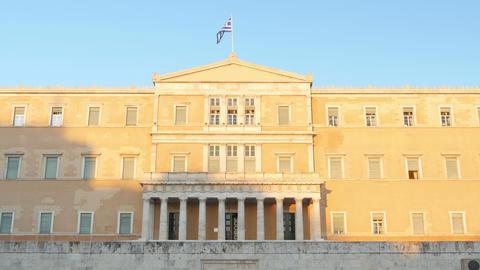 Greek Parliament, Athens stock footage