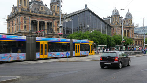 BUDAPEST - HUNGARY, AUGUST 2015: tram in daily traffic Live Action