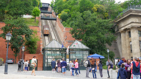 BUDAPEST CASTLE - HUNGARY, AUGUST 2015: people at hill funicular Footage