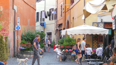ROME - ITALY, AUGUST 2015: people travel enjoy on streets Footage