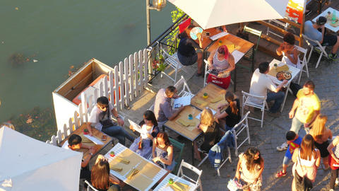 ROME - ITALY, AUGUST 2015: people travel on tiber river Live Action