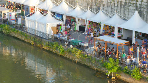 people travel and enjoy on tiber river, rome, italy Live Action