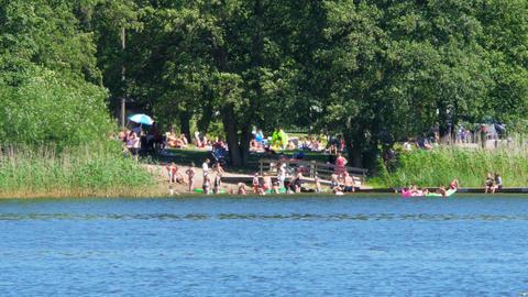 people swimming scandinavian waters near stockholm, sweeden, 4k Footage