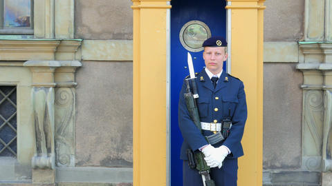 STOCKHOLM - SWEDEN, AUGUST 2015: female soldier guarding parliament house Footage