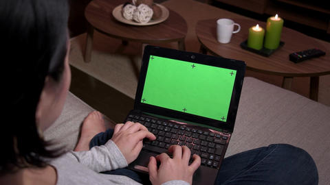 Green Screen Monitor Laptop Computer Pc Woman Typing On Keyboard Footage