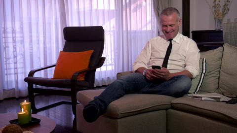 Happy Man Manager People Businessman Smiling Texting Messaging With Smartphone Footage