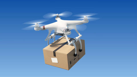 Quadcopter Delivering a Package in Blue Sky. Seamless 3d Animation with Green Animation