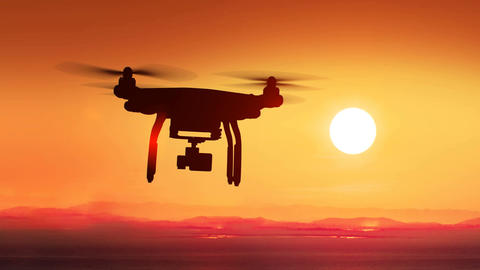 Quadcopter Flying Far Away to the Beautiful Sunset Sun. Modern Electronics Animation