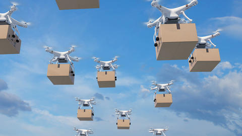 Many Drones Flying in the Clouds and Delivering Packages. Looped 3d Animation Animation