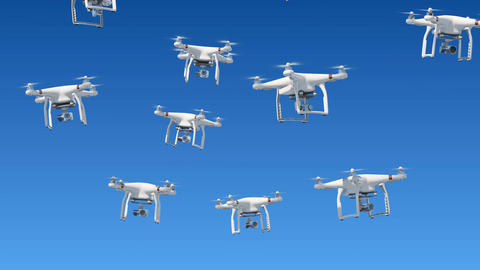 A lot of Drones Rising Up in the Blue Sky and Filming with Cameras. Looped 3d Animation