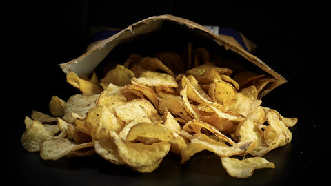 Delicious potato chips - Junk food Footage