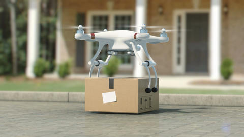 Quadcopter Delivering a Package to the Place of Destination. Leaving a Parcel Animation