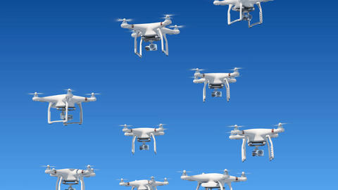 A lot of Drones Rising Up in the Blue Sky and Filming with Cameras. Looped 3d Animación