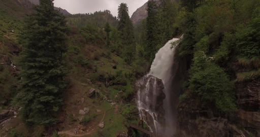 Waterfall among tall evergreen trees Footage