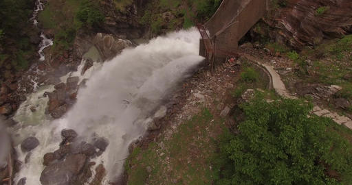Powerful waterfall seen from above Footage