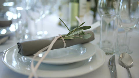 decorated table for a wedding dinner Footage