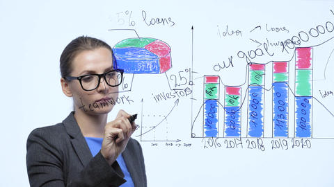 Woman draws various growth charts, calculating prospects for success in a modern Live Action