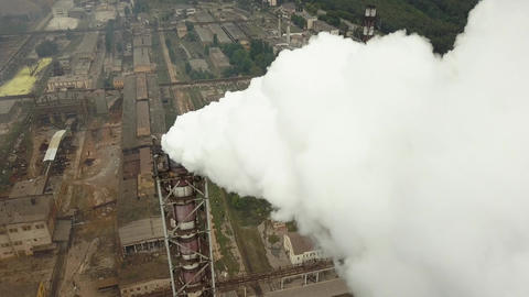 Factory smoke stack - Oil refinery, petrochemical or chemical plant Footage