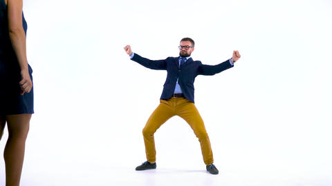 Professional business people having fun dancing like crazy Footage