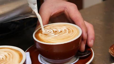 Making Latte Art Closeup Footage