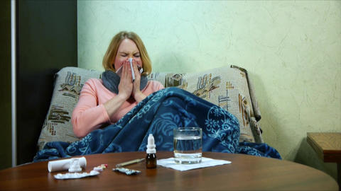 The girl is sick and taking medication Live Action