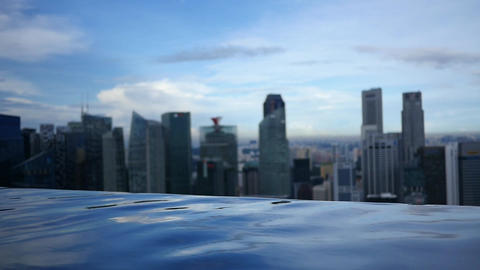 Infinity Pool Overlooks City Skyline Footage