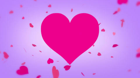 Heart Background with Spinning Hearts in Particle Form in colorful variations Animation