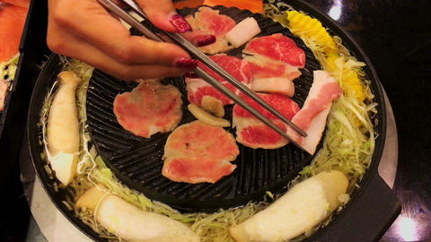 Japanese Cuisine Jingisukan Hot Plate Grill Food Image