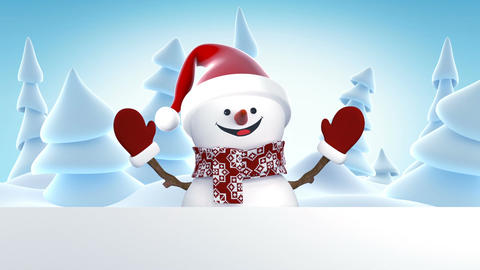 Funny Snowman in Santa Claus Cap Greeting with Hands and Smiling. Beautiful 3d Animation