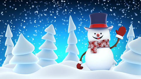 Funny Snowman High-Hat Going on Stage Waving and Smiling in Winter Forest Animation