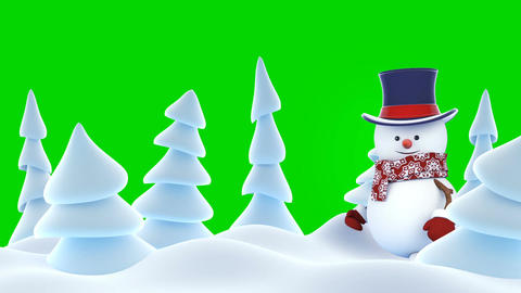 Funny Snowman High-Hat Going on Stage Waving and Smiling... Stock Video Footage