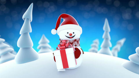 Funny Snowman in Santa Claus Cap Walking in Winter Forest with a Gift. Beautiful Animation