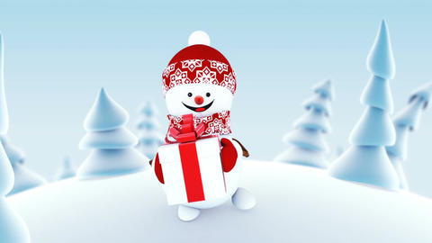 Funny Snowman Walking in Winter Forest Holding a Present Box Smiling. Beautiful Animation