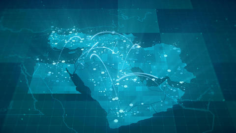 Middle East Map Globalization Animation