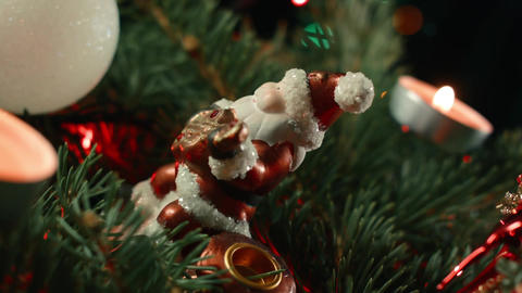 Christmas composition with Christmas tree baubles and Santa Footage