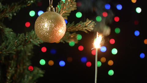 Decorated Christmas tree on blurred, sparkling and fairy background Footage