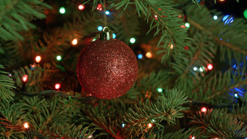 Christmas tree and Christmas decoration-red ball with garlands Footage