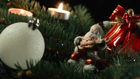 The Christmas tree is a decorated evergreen coniferous tree, real or artificial Footage
