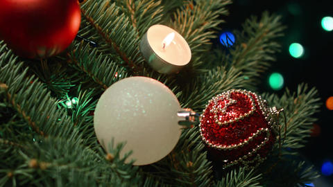 Christmas decoration, holidays and advertisement concept - close up of natural Footage