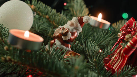 Christmas composition with Santa balloons and candles on the Christmas tree Footage