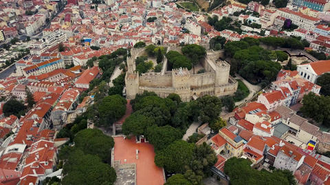 Lisbon from a bird's eye view. Castle of St. George Footage