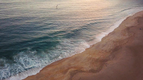 View from the height on a deserted beach. The Portuguese coast of the Atlantic Footage